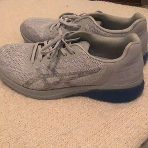 Grey and blue ASICS running shoes. Size 8 1/2